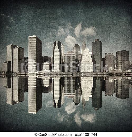Imágenes grunge del horizonte de Nueva York - csp11301744