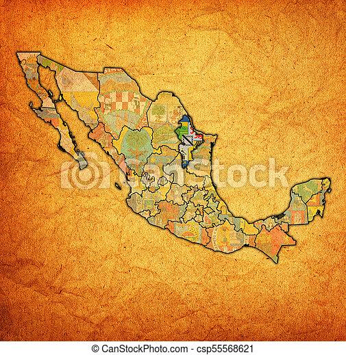 Nuevo Leon On Administration Map Of Mexico Emblem Of Nuevo Leon
