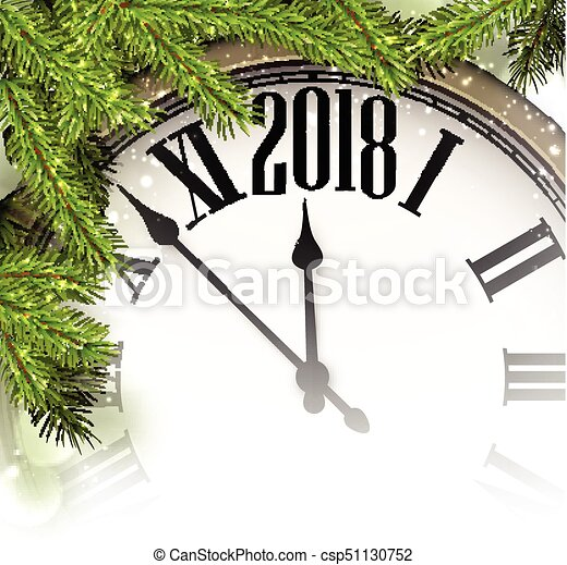2018 Año Nuevo con reloj. - csp51130752