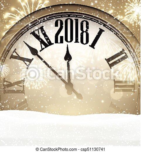 2018 Año Nuevo con reloj. - csp51130741