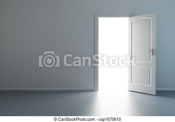 Nueva habitación vacía con puerta abierta - csp1670610