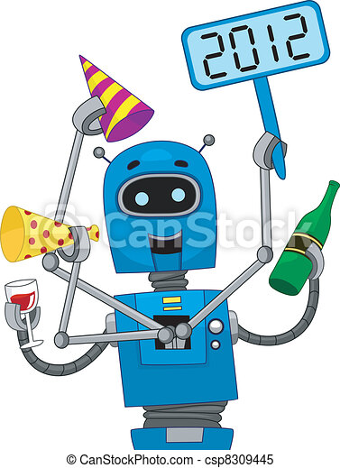 Robot de Año Nuevo - csp8309445