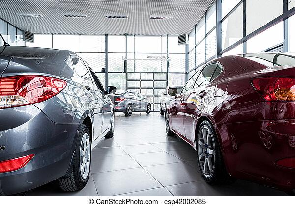 Nuevos coches en la sala de exposición de distribuidores - csp42002085