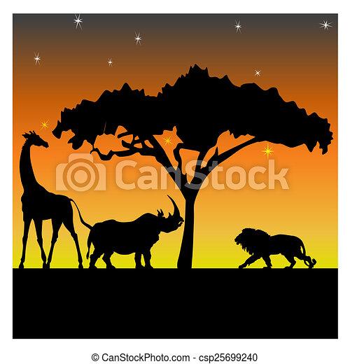 Nuit africaine savane girafe lion silhouettes - Dessin de savane ...