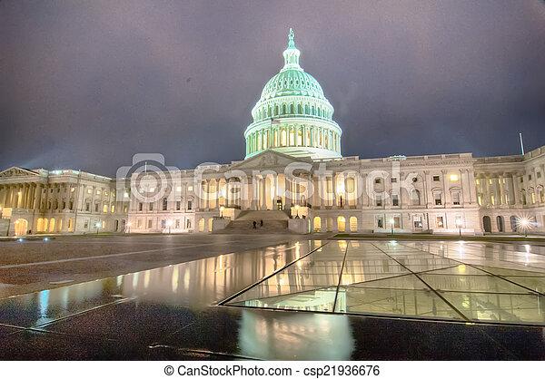 nuit, capitole américain, bâtiment - csp21936676