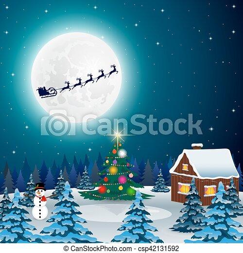 Nuit Forêt Paysage Noël