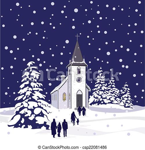 nuit, hiver, église - csp22081486