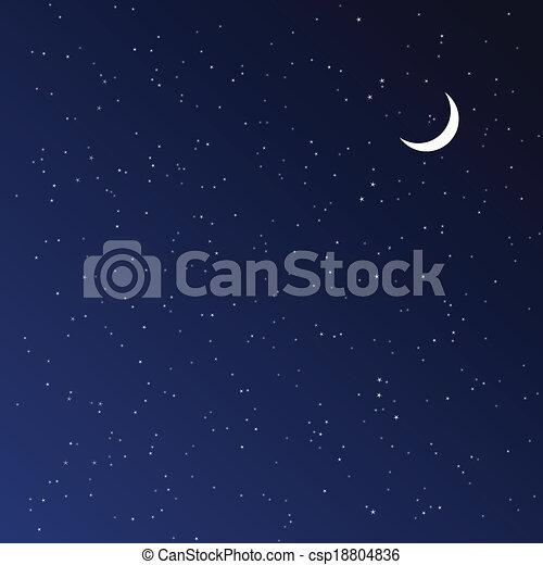 nuit, illustration., vecteur, sky. - csp18804836