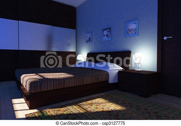 nuit, moderne, chambre à coucher