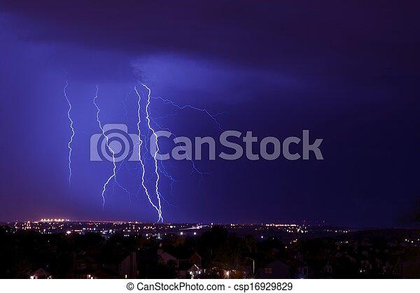 nuit, orage, éclair - csp16929829