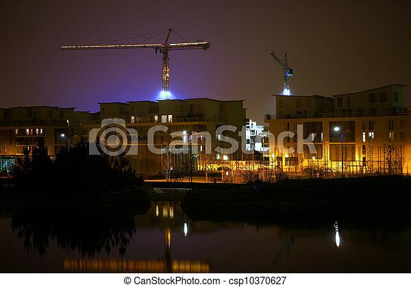 nuit, site construction - csp10370627