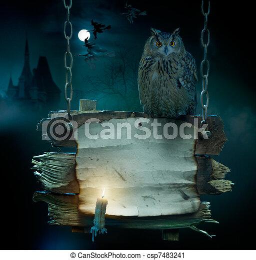 nuit sorcières parti, fond, conception - csp7483241