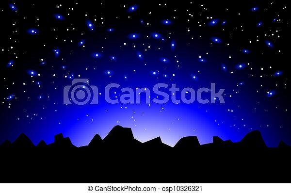 nuit, vecteur, paysage, espace - csp10326321