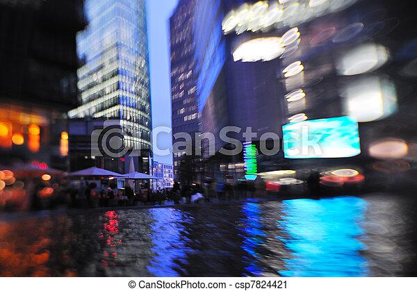 nuit, ville, mouvement, occupé, voitures, lumière, brouillé, rue - csp7824421