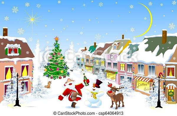 nuit, ville, winter., cerf, noël, santa, bonhomme de neige, gai - csp64064913