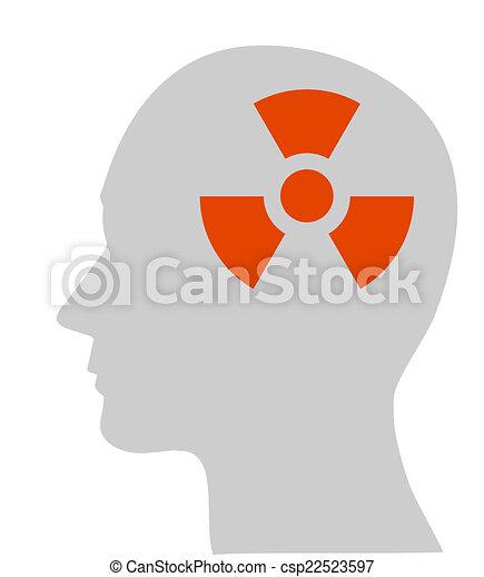 nuklear, symbol, kopf, menschliche  - csp22523597