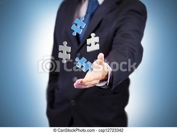 numérique, homme affaires, blanc - csp12723342