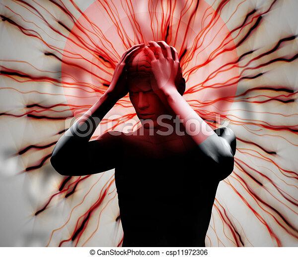 numérique, mal tête, corps - csp11972306