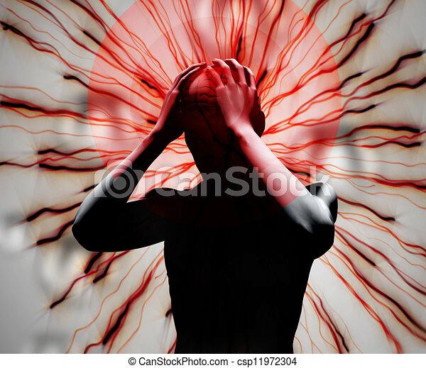 numérique, mal tête, noir, corps - csp11972304