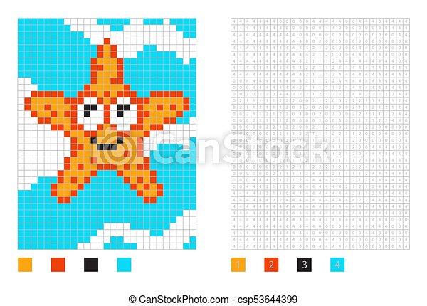 Numéroté Coloration Etoile Mer Pixel Carrés Dessin Animé Page