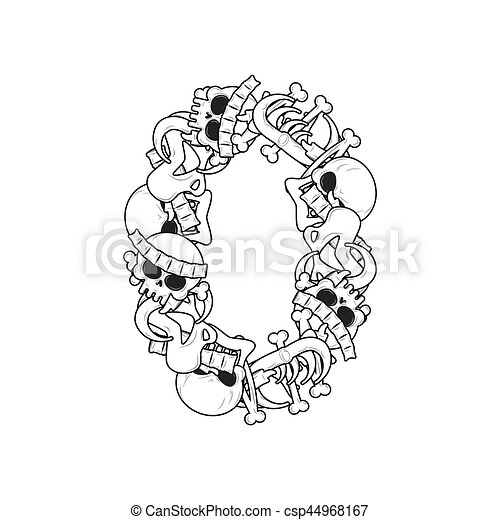 Number 0 Skeleton Bones Font Zero Anatomy Of An Alphabet Symbol