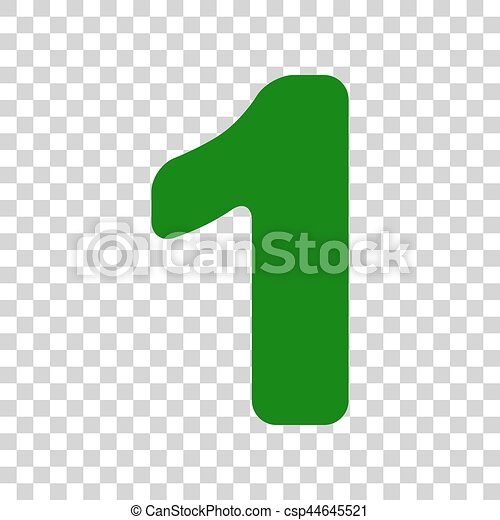 Number 1 Sign Design Template Element Dark Green Icon On