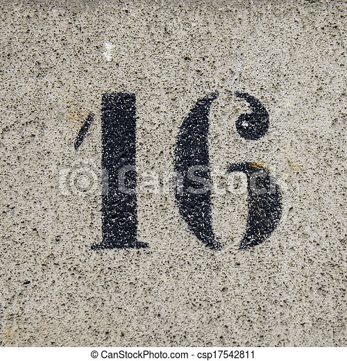 Number 16 template house number sixteen on stone stock for Number 16 house