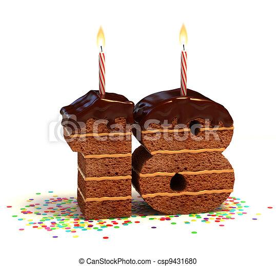 Number 18 Shaped Chocolate Cake Chocolate Birthday Cake