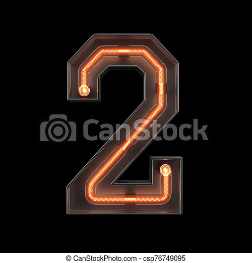 Number 2, Alphabet made from Neon Light - csp76749095