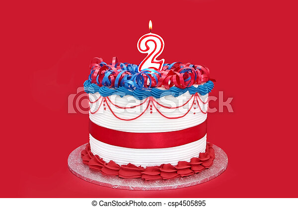 Number 2 Cake With A Candle Over Vibrant Red Background