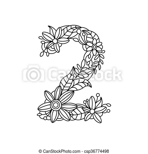 Number 2 Coloring Book For Adults Vector