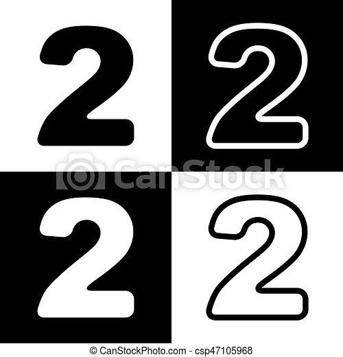 Number 2 sign design template elements. vector. black and white ...