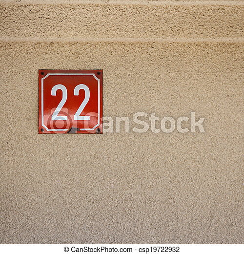 Number 22 on a wall - csp19722932