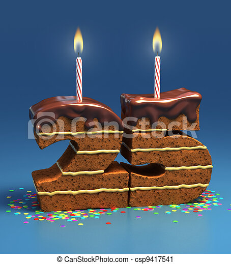 One Birthday Candle Clipart Number 25 shaped birth...