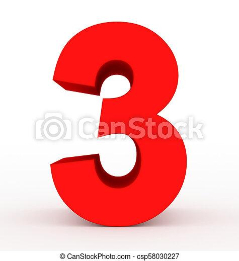 Red Number 3 Clip Art