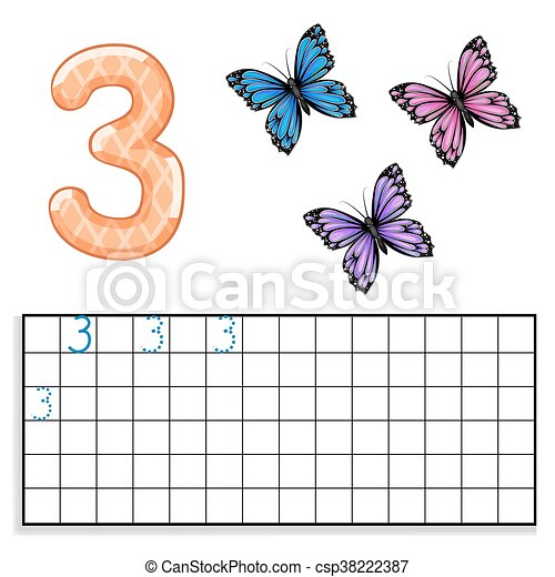 Number 3 with three butterflies - csp38222387