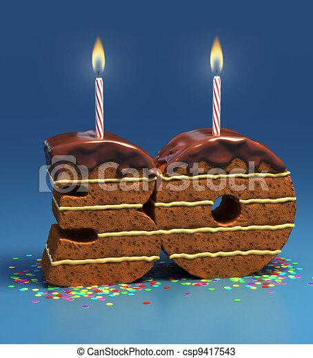 Number 30 Shaped Birthday Cake