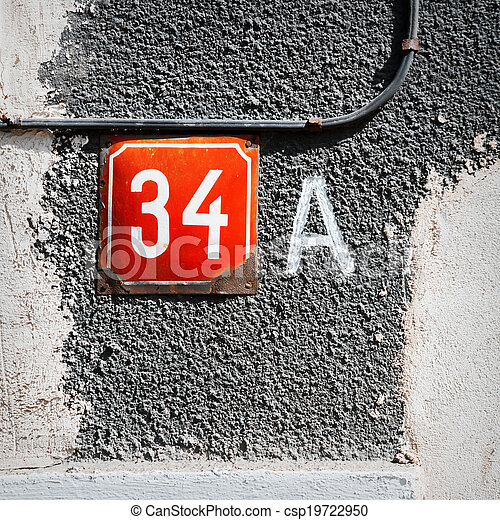 Number 34 A on a wall - csp19722950