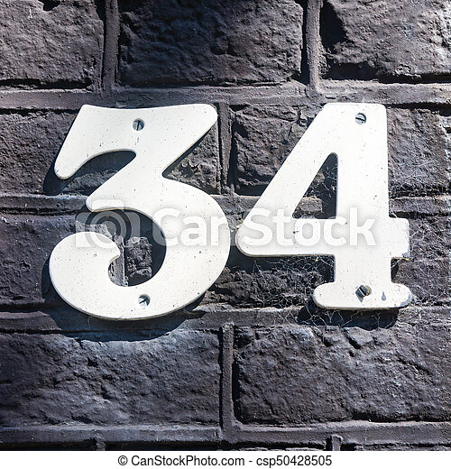 34 >> Number 34 House Number Thirty Four