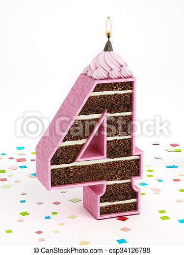 Number 4 Shaped Chocolate Birthday Cake With Lit Candle