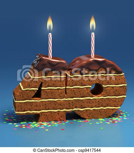 Number 40 Shaped Birthday Cake