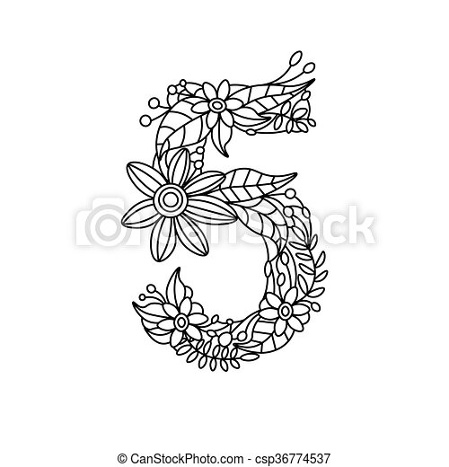 Number 5 coloring book for adults vector. Floral font number ...