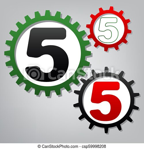 Number 5 sign design template element. Vector. Three connected g - csp59998208
