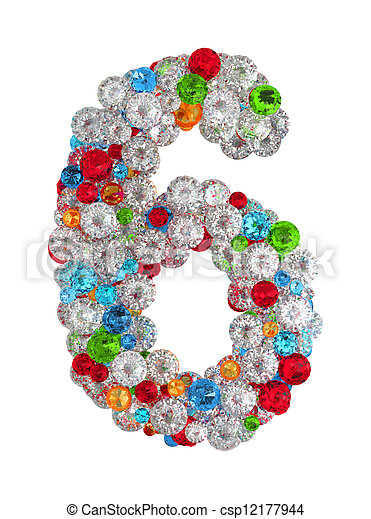 Number 6 from gems - csp12177944