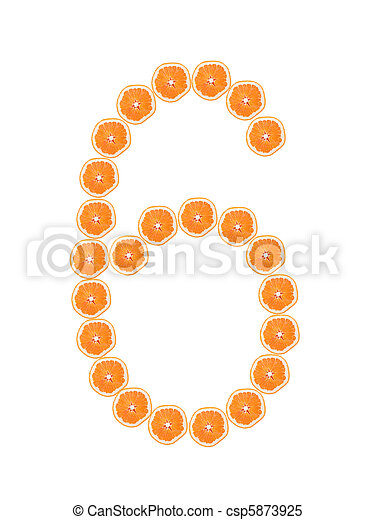 """Number """"6"""" from orange slices isolated on white - csp5873925"""