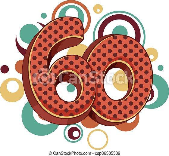Number 60 Design Retro Circles - csp36585539