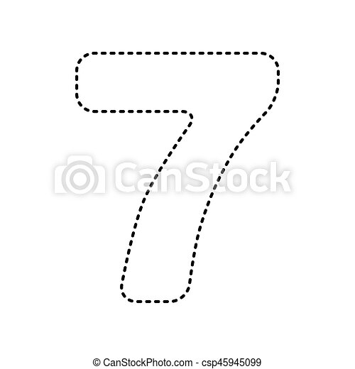 Number 7 Sign Design Template Element Vector Black Dashed Icon