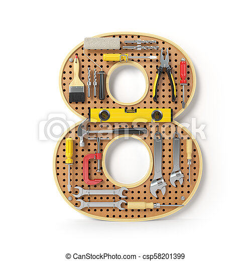 Number 8 eight. Alphabet from the tools on the metal pegboard isolated on white. - csp58201399
