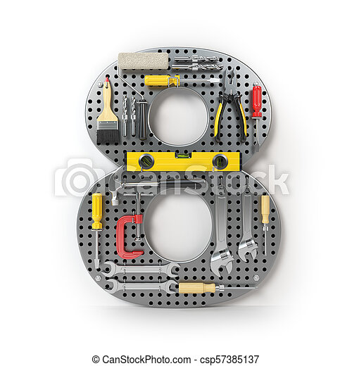 Number 8 eight. Alphabet from the tools on the metal pegboard isolated on white. - csp57385137
