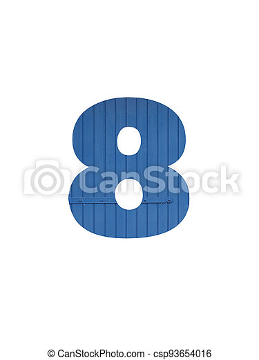 Number 8 of the alphabet made with blue wood - csp93654016
